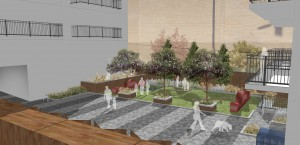 Davis Landscape Architecture Bow Road London Home Zone Residential Landscape Architect Courtyard Rendered Visualisation