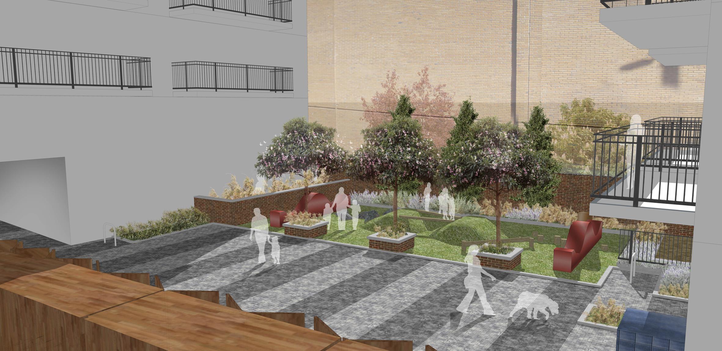 Bow road london davis landscape architects for Courtyard landscape architecture