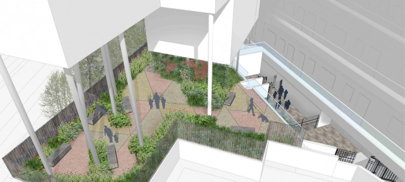 Davis Landscape Architects Iverson Road London Residential Landscape Design Architect Rendered Visualisation Courtyard