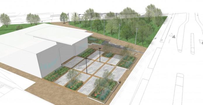 Davis Landscape Architects East Village Marketing Suite London Public Realm Landscape Architect Visualisation Render Day