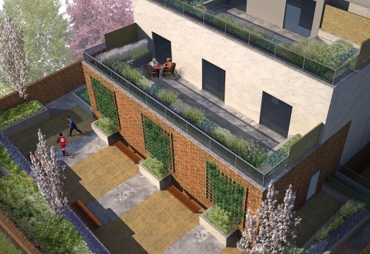 Davis Landscape Architects The Grove London Residential Landscape Architect Design Roof Garden Rendered Visualisation