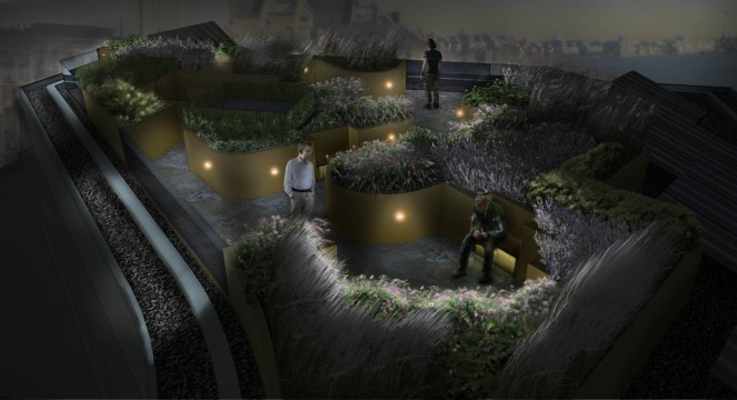 Davis Landscape Architects Wapping London Residential Roof Garden Landscape Design Architect Rendered Visulisation Night