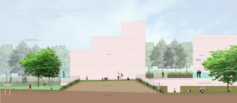 Davis Landscape Architects Tyson Road London Residential Landscape Architect Design Rendered Section