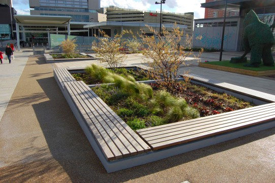 Davis Landscape Architects East Village Marketing Suite London Public Realm Landscape Architect Complete Image Seating and Planter