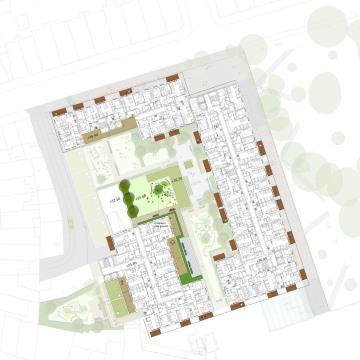Davis Landscape Architects The Oaks, Acton London Mixed Use Landscape Architect Third Floor Roof Garden Plan Planning