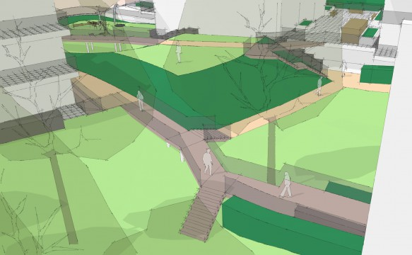 Davis Landscape Architects Tyson Road London Residential Landscape Architect Design Sketch Visualisation Public Space