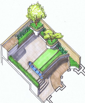 Davis Landscape Architects Belsize Park London Residential Landscape Architect Hand Visualisation