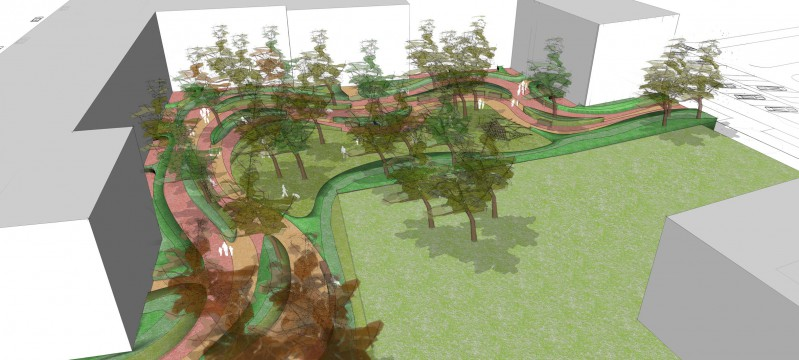 Davis Landscape Architects Gutenborg, Russia Residential Landscape Architect Sketchup Render Courtyard