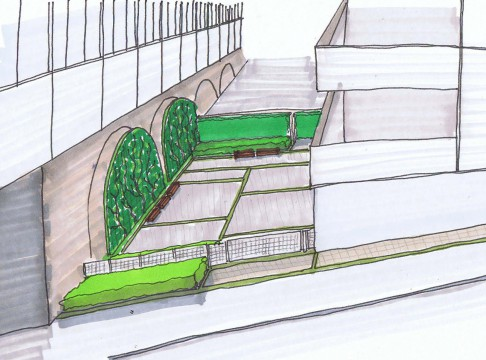 Davis Landscape Architects Salter Street London Mixed Use Landscape Architect Hand Sketch Visualisation