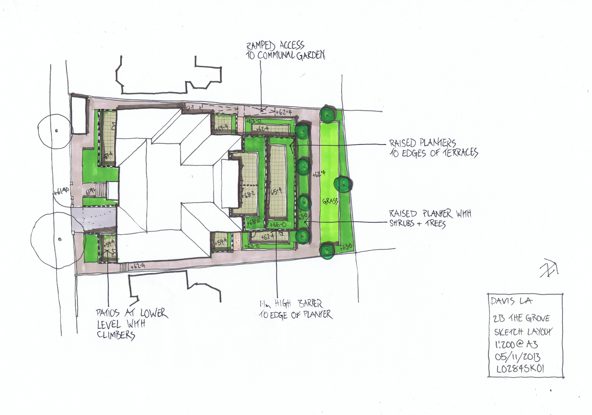 Davis Landscape Architects The Grove London Residential Architect Design Roof Garden Hand Sketch Concept Masterplan