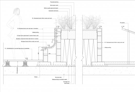 Davis Landscape Architects Wapping London Residential Roof Garden Landscape Architect Technical Section