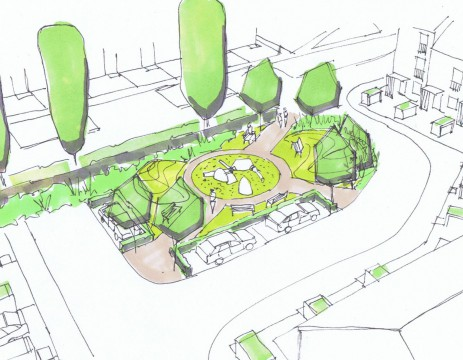 Davis Landscape Architects Oxford Greyhound Stadium Home Zone Residential Landscape Architect Design Hand Sketch Visualisation Play Area