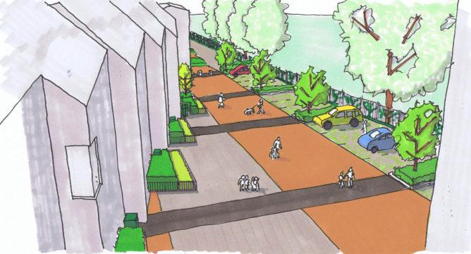 Davis Landscape Architecture Grange Road London Residential Home Zone Landscape Architect Hand Sketch