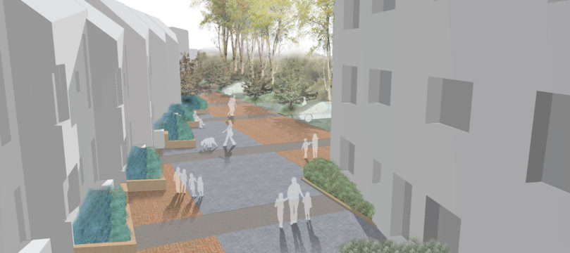 Davis Landscape Architecture Grange Road London Residential Home Zone Landscape Architect Rendered Visualisation