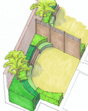 Davis Landscape Architects Highbury Grove London Shared Space Residential Landscape Architect Hand rendered Sketch