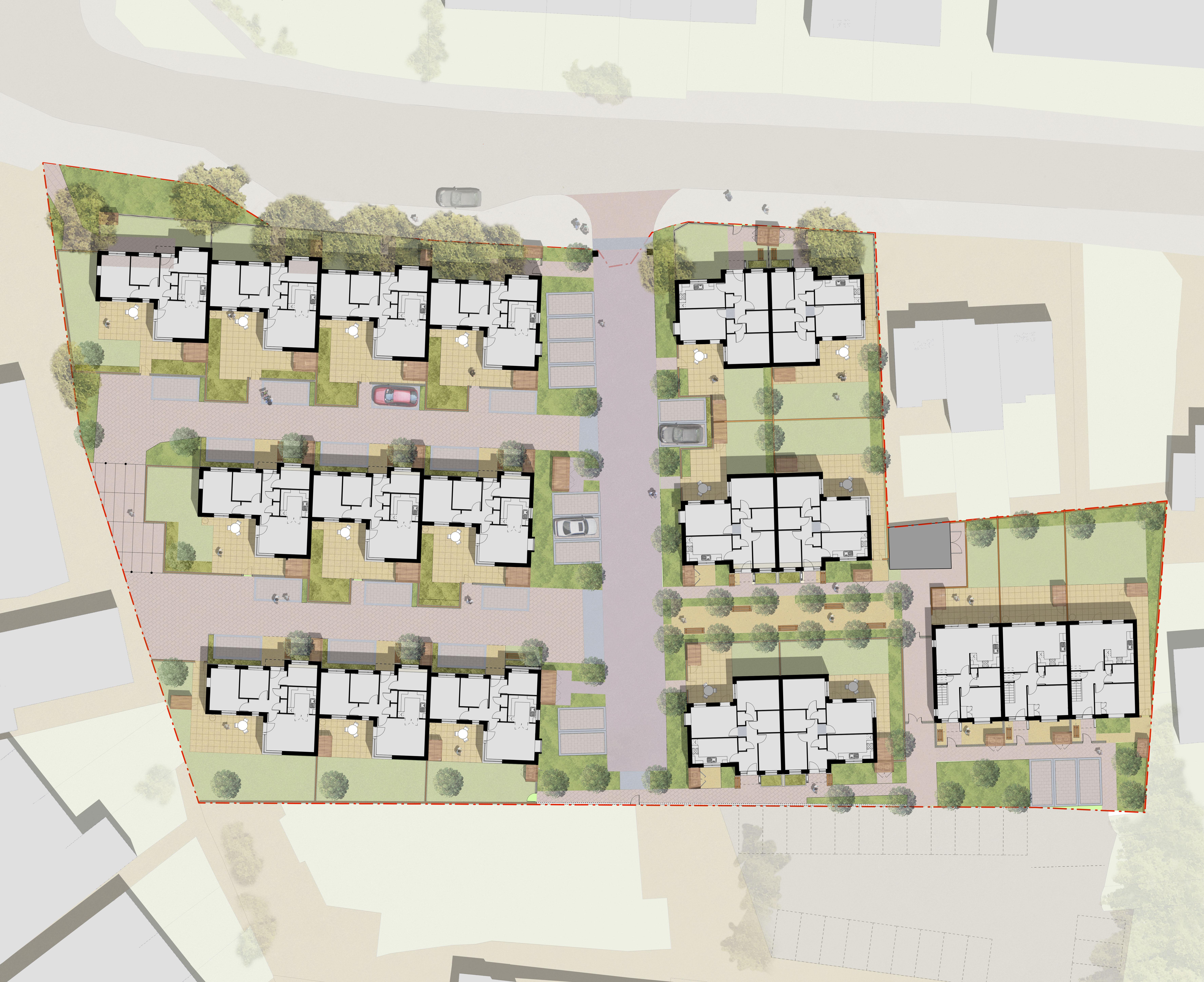 Davis Landscape Architecture Albyns Close London Residential Architect Render Masterplan Planning