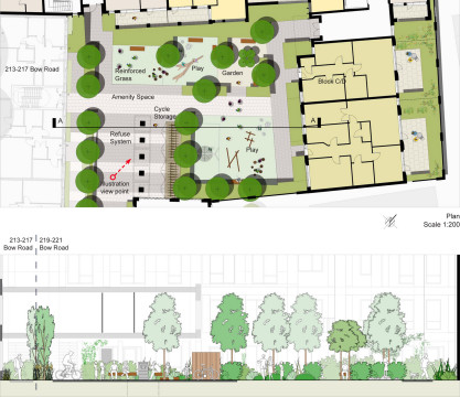 Davis Landscape Architecture Bow Road London Housing Residential Shared Space Play Landscape Architect Design Statement Section