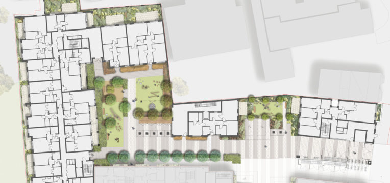 Davis Landscape Architecture Bow Road London Housing Residential Shared Space Play Landscape Architect Render Plan