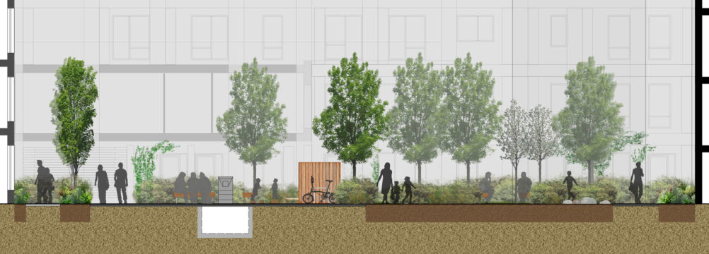 Davis Landscape Architecture Bow Road London Housing Residential Shared Space Play Landscape Architect Rendered Elevation