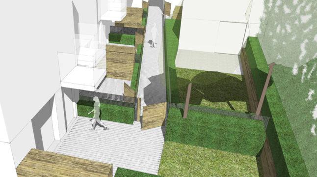 Davis Landscape Architecture Ashby Road Lewisham London Residential Landscape Architect Render Courtyard Visualization Planning