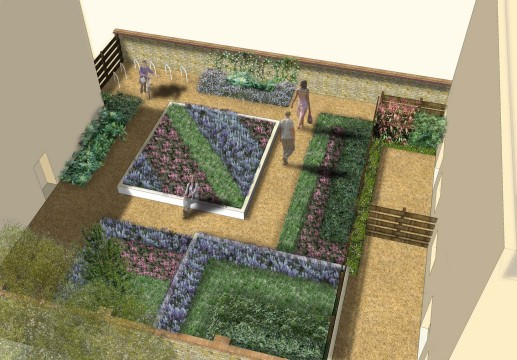 Davis Landscape Architecture Mile End Road London Residential Landscape Architect Design Render Courtyard Visualization Planning