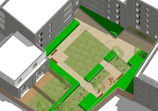 Davis Landscape Architecture Watts Grove London Residential Landscape Architects Courtyard Sketch Visualisation Planning