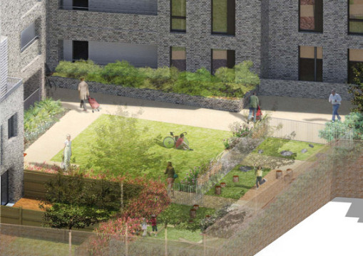 Davis Landscape Architecture Watts Grove London Residential Landscape Architects Play Area Courtyard Visualisation Planning