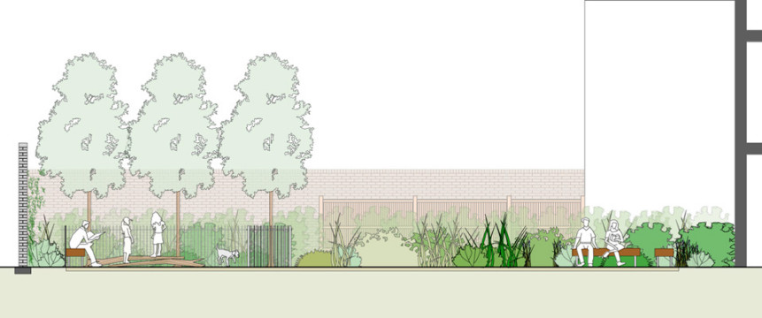 Davis Landscape Architecture Watts Grove London Residential-Landscape Architects Sketch Section Planning