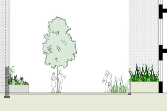 Davis Landscape Architecture Watts Grove London Residential Landscape Architects Sketch Section Planning