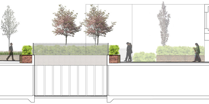 Davis Landscape Architecture Chadwell Street Residential Landscape Architect Design Rendered Section Courtyard Entrances Planning