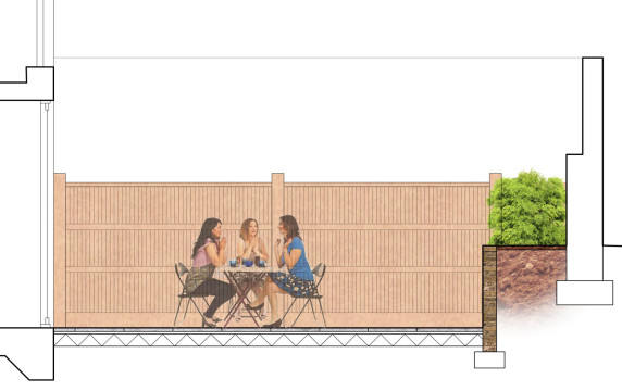 Davis Landscape Architecture Chadwell Street Residential Landscape Architect Design Rendered Section Patio Planning