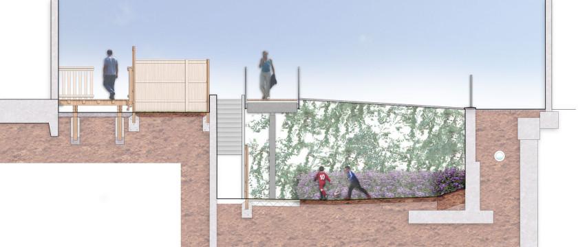 Davis Landscape Architecture MHT House Crescent Residential Landscape Architects Rendered Section Elevation Planning