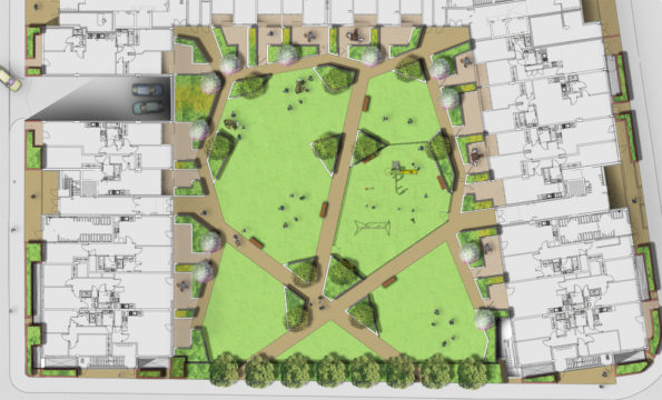 Davis Landscape Architecture St Lukes Canning Town London Residential Landscape Architect Design Podium Deck Play Rendered Courtyard Plan Planning