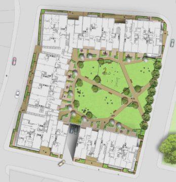 Davis Landscape Architecture St Lukes Canning Town London Residential Landscape Architect Design Podium Deck Play Rendered Courtyard Plan Planning