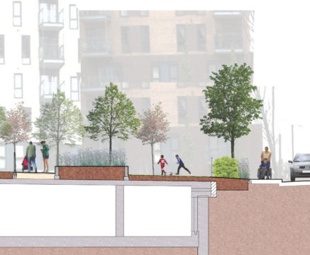 Davis Landscape Architecture St Lukes Canning Town London Residential Landscape Architect Design Podium Deck Rendered Courtyard Section Planning 3