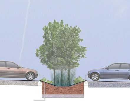 Davis Landscape Architecture Maurice Wilkes Bulding Cambridge Office Landscape Architect Design Car Park Swale Rendered Section Planning
