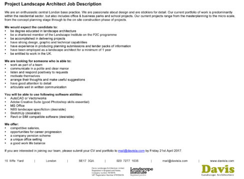 Job Opportunity With Davis Landscape Architecture - Davis