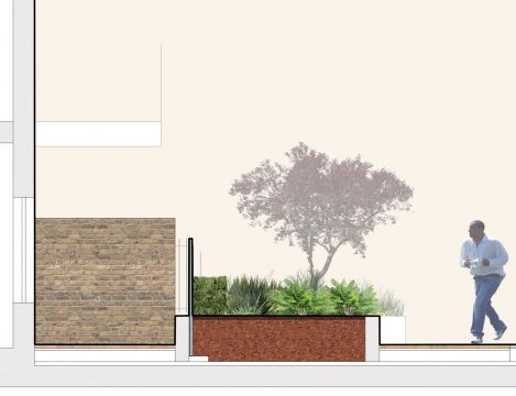 0404 Davis Landscape Architecture Former Honda Garage Southall Ealing London Residential Landscape Architect Design Detailed Planning Rendered Podium Deck Courtyard Section a