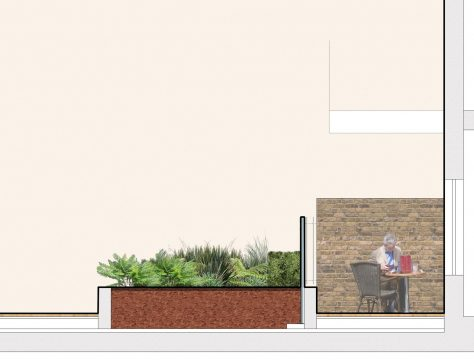 0404 Davis Landscape Architecture Former Honda Garage Southall Ealing London Residential Landscape Architect Design Detailed Planning Rendered Podium Deck Courtyard Section c