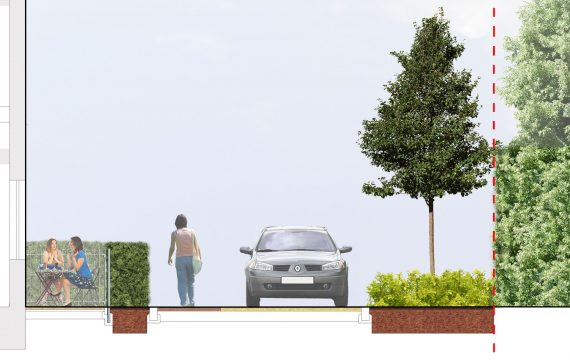 0404 Davis Landscape Architecture Former Honda Garage Southall Ealing London Residential Landscape Architect Design Detailed Planning Rendered Shared Carriageway Section