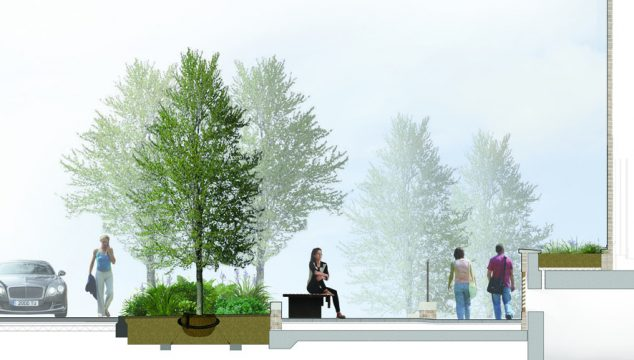 0449 Davis Landscape Architecture Marine Wharf Bermondsey London Residential Landscape Architect Design Home Zone Construction Render Section
