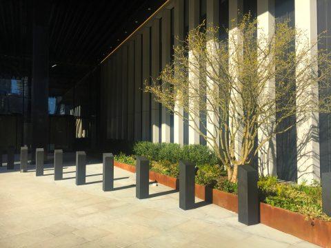 Davis Landscape Architecture London Wall Place Public Realm Landscape Architect Design Corten Steel Planter Construction Complete