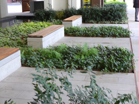 Davis Landscape Architecture London Wall Place Public Realm Landscape Architect Design Clad Bench Construction Complete