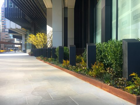 Davis Landscape Architecture London Wall Place Public Realm Landscape Architect Design Corten Steel Planter Construction Complete
