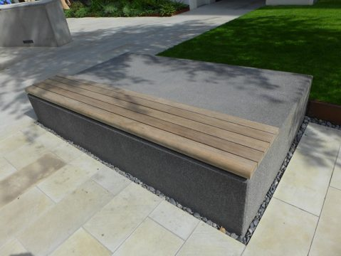 Davis Landscape Architecture London Wall Place Public Realm Landscape Architect Design Wood Topped Bench Construction Complete