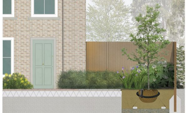 Davis Landscape Architecture Clyde Road Residential Landscape Rendered Section