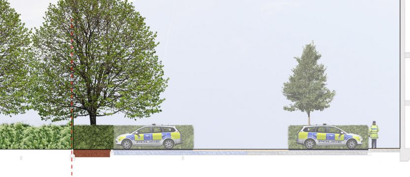 Davis Landscape Architecture Rowan House Driving Academy Colindale Barnet London Landscape Architect Commercial Design Render Section