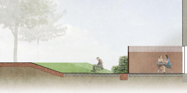 Davis Landscape Architecture Westbury Estate Clapham Lambeth London Residential Rendered Section Landscape Architect Design Planning Site 2