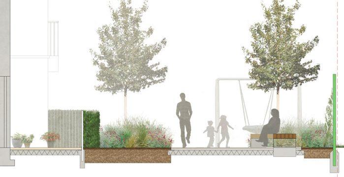 Davis Landscape Architecture London Road Wembley Brent London Render Section Residential Landscape Architect Design 2