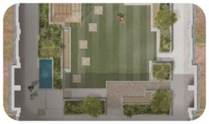 Davis Landscape Architecture Young Street Kensington and Chelsea London Residential Landscape Architect Design Podium Deck Construction Render Plan Icon